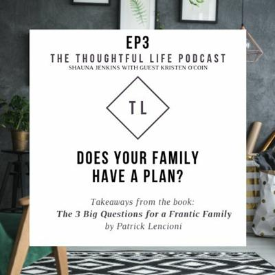 Cover art for Ep3 Does your family have a plan? Discussing 3 Big Ques. for a Frantic Family by Patrick Lencioni