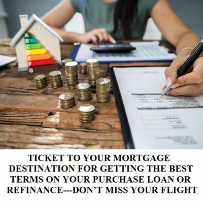 Cover art for TICKET TO YOUR MORTGAGE DESTINATIONS BEST TERMS ON YOUR LOAN/REFINANCE-DON'T MISS YOUR FLIGHT