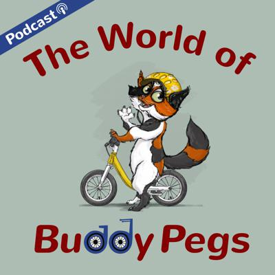 The World of Buddy Pegs is a series of free original children's audio stories for families who want to share the inspiration and empowerment of bicycling with the next generation.  Each episode starts at the local bike shop Buddy Pegs which is run by two dogs who are on a mission to bring the power of the bicycle to all the animal characters who reside in the fictional town Spokesville.