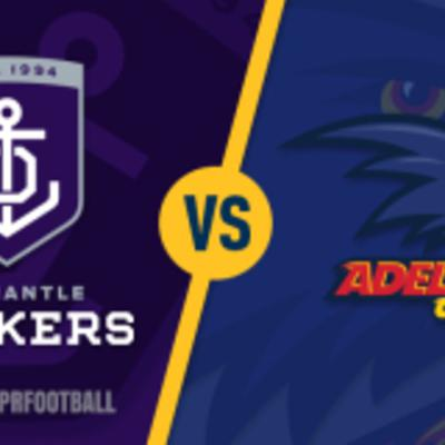Cover art for Round 5 Fremantle Dockers versus Adelaide Crows full game highlights