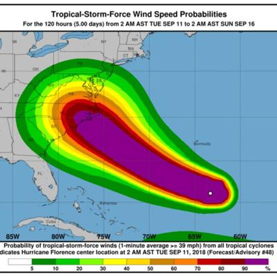 Cover art for HURRICANE FLORENCE UPDATE - ( Wednesday Sept. 12 - 3PM UPDATE)