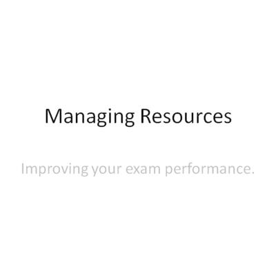 Cover art for Managing resources Exam practice