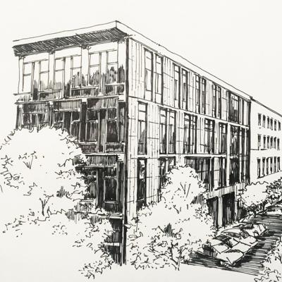Cover art for Mercy Corps building