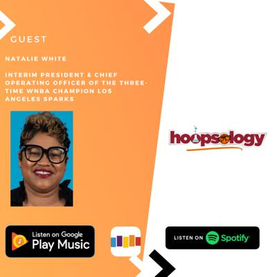 Cover art for Hoopsology interview with Interim President & Chief Operating Officer of the Los Angeles Sparks Natalie White, NBA First Round Playoff Update