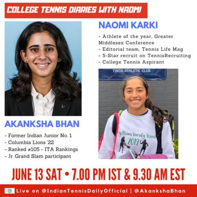 Cover art for College Tennis Diaries with Naomi: Guest speaker - Akanksha Bhan