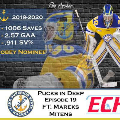 Cover art for Episode #19 of Pucks in Deep Feat. Mareks Mitens of The Lake Superior State University Lakers