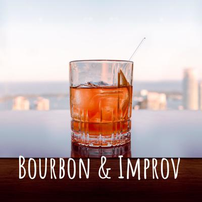 An improvisor sipping bourbon and talking about improv. Sometimes with friends.