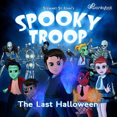 """In a world ravaged by an ancient monster race-war, a group of young tween supernatural friends from different backgrounds, codenamed """"Spooky Troop"""", come together to try and restore peace and harmony between monster kind. In this thrilling holiday special called Spooky Troop: The Last Halloween, the Spooky Troop kids discover the Demon King's plan to wipe out the pitifuls (humans!) on Halloween… and unite to stop him! Filled with mystery, action-adventure and comedy, the musically-infused audio drama is a show the whole family can enjoy featuring a full-cast adventure with dialogue, sound effects, instrumental score and original songs.  Written and directed by Stewart St John (Mighty Morphin Power Rangers, Sabrina: The Animated Series).  Original Score and over twenty Songs written, performed and produced by music partners Stewart St John & Michael Plahuta. Sound Design by Michael Plahuta.  Produced by Todd Fisher, Stewart St John and Michael Plahuta for Wonkybot Studios."""