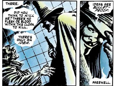 Cover art for V for Vendetta: A mask becomes un-Moore'd in time