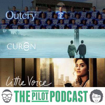 Cover art for Outcry (Showtime), Little Voice (Apple TV+) and Curon (Netflix)