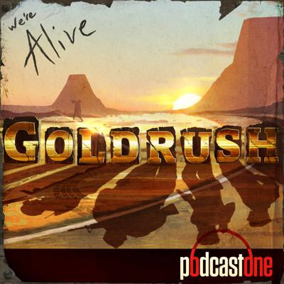 """Set 17 years after the main events of WE'RE ALIVE, GOLDRUSH is a recollection story that describes the efforts of the """"soldiers"""" (Greg Muldoon, Anthony Robbins, Carl Thomas, and Samuel Puck) attempt a side mission to retrieve a suspected stash of gold bullion.  Told from the perspective of an aging Gen. Puck, he confides this previously undisclosed tale to the only surviving relation of his former team, Alex Robbins, the son of Puck's friend Anthony. Over the course of ten episodes, the show will not only relate past tales of heroics, horror, and humor, but also sets the stage for future characters.  In Goldrush, fans will truly get to know these well-beloved characters characters on a much more emotionally satisfying level. Their humor and unique group dynamic certainly remain intact, and modeled after old Spaghetti Westerns, the story takes directions the series has not yet explored.  Filled with action, battles with the undead, love triangles, conflicting loyalties, and of course gold, WE'RE ALIVE: GOLDRUSH stands out as a truly unique Theater for the Mind experience for both new and old listeners."""