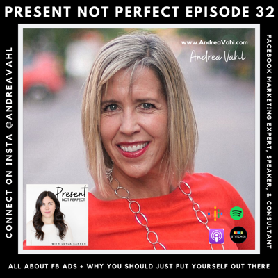 Cover art for 32. Andrea Vahl, Facebook Marketing Expert, Comedian, & Mom! Learn where to begin when it comes to marketing your business online and why you should put yourself out there and let your personality shine through.