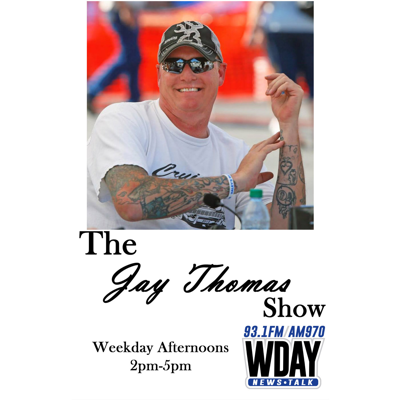Jay Thomas has been the afternoon host on 970 WDAY AM / 93.1 FM in Fargo, ND for over a decade. In that time, The Jay Thomas Show has become the number one afternoon talk show in Fargo-Moorhead. Jay has also picked up North Dakota Teddy Awards for Talk Show of the Year in 2015 and 2016. Hear the show live afternoons from 2 to 5 on 970 WDAY AM & 93.1 FM!