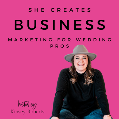 The wedding business podcast for pros who want to grow a profitable, sustainable and fulfilling business in our industry.  How do I get more clients in my wedding business? How do I start a wedding venue? What are the latest social media trends for marketing?   Have you ever found yourself Googling these questions late into the evening between wedding seasons?   Here's the great news my friend: YOU ARE NOT ALONE. All of us in the wedding industry share the same struggles, we all have stories AND the best part is......we all have solutions!   Every Tuesday & Thursday, She Creates Business, a Podcast for Wedding Pros interviews women entrepreneurs in the wedding industry just like you.   Each episode shares a business-building strategy that you can apply to your own business. From wedding planners to photographers and venue owners to calligraphers, no topic is off-limits!  Join us for community and conversation!  Connect with Kinsey: @shecreatesbusiness www.shecreatesbusinesspodcast.com Artwork Headshot: Amanda Matilda Photography
