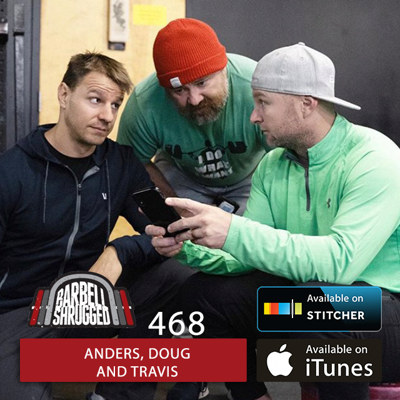 Cover art for How to Use Resistance Bands for Hypertrophy and How to Add Velocity Based Training to Your Program w/ Anders Varner, Doug Larson, and Travis Mash- Barbell Shrugged #468