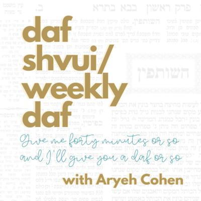 I know that all the cool kids are jumping on to the daf yomi bandwagon. However, if you are looking for something a bit more mellow, a bit more curated, less a part of the rough and tumble of the daf yomi speedway—I invite you to daf shvu'i, a weekly page of Talmud. In about 40-50 minutes you can learn a page of Talmud. No previous experience required.
