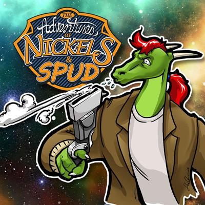 """The Adventures of Nickels and Spud is a futuristic sci-fi, techno fantasy, which follows the exploits of Nickels (an outgoing dinosaur, human hybrid who is the owner and founder of his own salvation/bounty hunter company, his friend and associate, Spud (a friendly and quite intelligible vegetable based alien from a distant galaxy), their sarcastic and often insecure Ship simply named Ship and their new associate, Em—a petite—but more often than not—bigger than life princess from Earth. Together, they travel the cosmos, scouring the planets and moons for hidden treasures and what Nickels calls """"Scum"""", an umbrella term which means rubbish that can be sold for re-purposing and bad guys that have escaped the long arm of intergalactic law. And though they all have their unique skills, without each of them pitching in, they're just loud, brash and a little above average; but together, they are explosive! Indeed, the universe is big, but these four combined may just dwarf it!"""